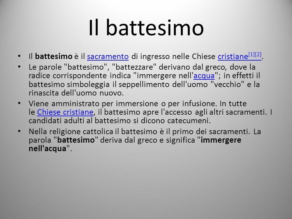 Il battesimo Il battesimo è il sacramento di ingresso nelle Chiese cristiane[1][2].